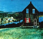 William Kurelek&#039;s painting of the first poustinia, with Madonna House in the background, entitled The Hope of the World.