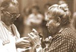 Catherine Doherty receiving Communion.