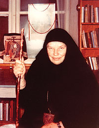 Catherine Doherty wearing Russian pilgrim clothes.