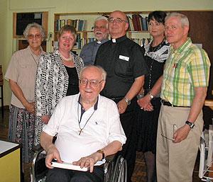 (left to right): Kathleen Janet Thompson, Dr. Elizabeth Smyth, Fr. Robert Wild, Fr. Pat Cogan, Dr. Vicki Bennett, Fr. Terrence Fay. (front) Fr. Alexandre Tache.